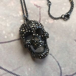 Gunmetal Skull Necklace Moveable Jaw